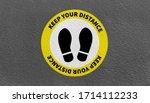 social distancing. footprint... | Shutterstock . vector #1714112233
