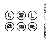 contact icon set vector... | Shutterstock .eps vector #1714136176