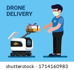 robot courier giving package to ... | Shutterstock .eps vector #1714160983