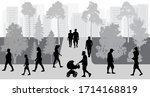 silhouettes of crowd of people... | Shutterstock .eps vector #1714168819