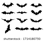 big set of black silhouettes of ... | Shutterstock .eps vector #1714180750