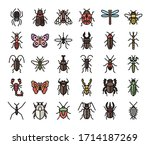 insect color outline vector... | Shutterstock .eps vector #1714187269