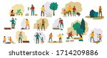 people gardening. woman... | Shutterstock .eps vector #1714209886