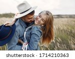 Loving Couple In A Wheat Field. ...