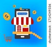 image vector.online shopping... | Shutterstock .eps vector #1714249336