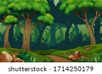deep forest scene with trail in ...   Shutterstock . vector #1714250179