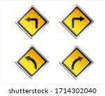 Yellow Traffic Sign Turn And...