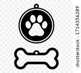 Cutout Icon Of A Dog Tag. Dog...