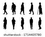 silhouette people walking... | Shutterstock .eps vector #1714405780