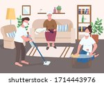 grandchildren help elder flat... | Shutterstock .eps vector #1714443976