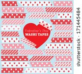 Valentine's Day Washi Tape Strips in Pink, Red and White Hearts and XOXO Patterns. Semitransparent. Photo Frame Border, Web Blog Layout Element, Clip Art, Scrapbook Embellishment. Global colors used. - stock vector