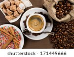 white cup with black coffee on...   Shutterstock . vector #171449666