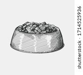 hand drawn sketch of pet food...   Shutterstock .eps vector #1714525936