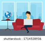 man has working from home... | Shutterstock . vector #1714528936