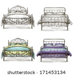 set of beds drawing sketch style | Shutterstock .eps vector #171453134