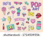 fashion pop art patch stickers. ...   Shutterstock . vector #1714539556