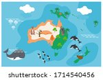 the world map with cartoon... | Shutterstock .eps vector #1714540456