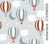 seamless pattern with cute... | Shutterstock .eps vector #1714560520