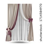 realistic set of curtains with... | Shutterstock .eps vector #1714584970