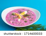 Small photo of Cold borscht (beet soup). This soup probably originated in the Lithuania. In the summertime, cold borscht is a popular alternative to the aforementioned variants.