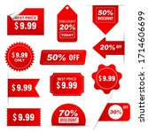 set of red sale stickers  | Shutterstock .eps vector #1714606699