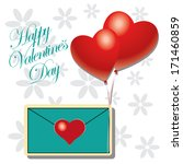 a blue card with some hearts in ... | Shutterstock .eps vector #171460859