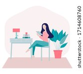 stay home concept.young woman... | Shutterstock .eps vector #1714608760