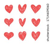 doodle hearts  hand drawn love... | Shutterstock .eps vector #1714609060