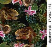 tyrannosaurus rex head  orchid...   Shutterstock .eps vector #1714614496