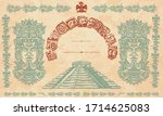 mayan pyramids  glyphs and old... | Shutterstock .eps vector #1714625083