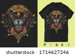 black panthers and mayan sun... | Shutterstock .eps vector #1714627246