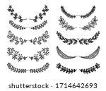 floral vector hand drawn frames.... | Shutterstock .eps vector #1714642693