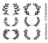 floral vector hand drawn frames.... | Shutterstock .eps vector #1714642699