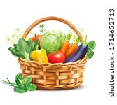 basket with vegetables and... | Shutterstock .eps vector #1714652713