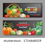 promotional banners for farmers ... | Shutterstock .eps vector #1714668529