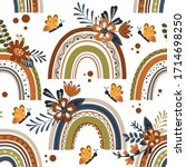 seamless pattern with rainbow... | Shutterstock .eps vector #1714698250