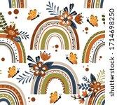 Seamless Pattern With Rainbow...