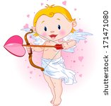 cute cupid ready to shoot his... | Shutterstock . vector #171471080
