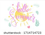 hello summer lettering... | Shutterstock .eps vector #1714714723
