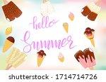 hello summer lettering... | Shutterstock .eps vector #1714714726