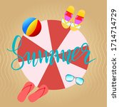 hello summer lettering... | Shutterstock .eps vector #1714714729