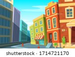 cityscape. modern city and old... | Shutterstock .eps vector #1714721170