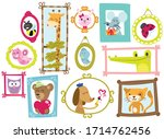 animals in frames   vector set | Shutterstock .eps vector #1714762456