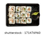 sushi mix in a plastic tray | Shutterstock . vector #171476960