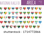 set of 54 heart shaped flags of ... | Shutterstock .eps vector #1714772866