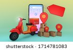 mobile phone and scooter with... | Shutterstock . vector #1714781083