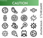 caution line icon set on theme... | Shutterstock .eps vector #1714816600