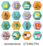 Set of modern flat educational icons of different subjects and concepts in colored hexagons with long shadows