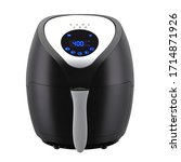 Small photo of Digital Air Fryer Isolated. Black Electric Deep Fryer with LED Touch Display Front View. Modern Domestic Household & Electric Small Kitchen Appliances. 1400 Watts 4 Liter Capacity Oilless Cooker