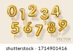 golden number balloons 0 to 9.... | Shutterstock .eps vector #1714901416